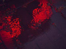 красная вода лужа